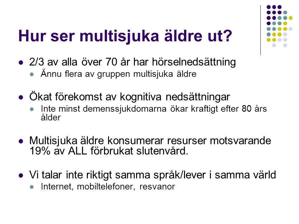 Hur ser multisjuka äldre ut?  2/3 av alla över 70 år har hörselnedsättning  Ännu flera av gruppen multisjuka äldre  Ökat förekomst av kognitiva ned