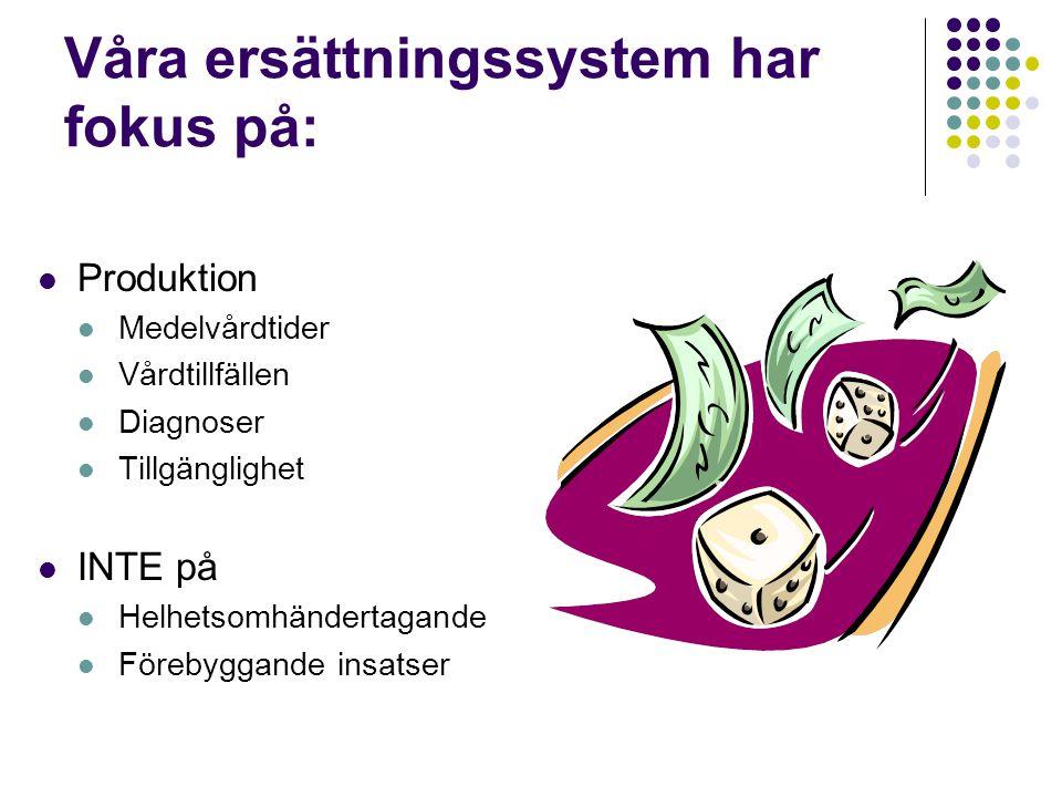 Våra ersättningssystem har fokus på:  Produktion  Medelvårdtider  Vårdtillfällen  Diagnoser  Tillgänglighet  INTE på  Helhetsomhändertagande 