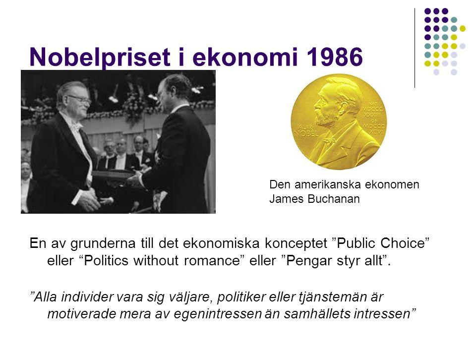 "Nobelpriset i ekonomi 1986 En av grunderna till det ekonomiska konceptet ""Public Choice"" eller ""Politics without romance"" eller ""Pengar styr allt"". ""A"