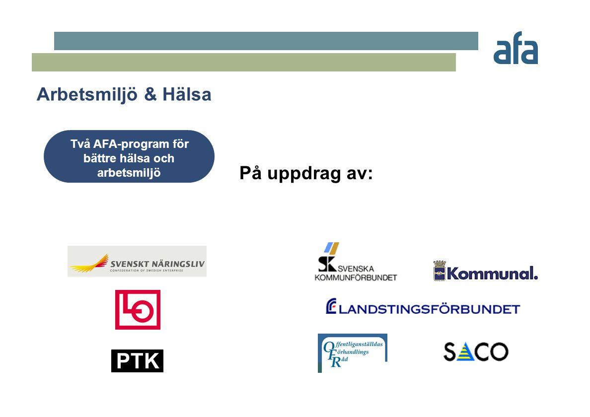 Arbetsmiljö & Hälsa Två AFA-program för bättre hälsa och arbetsmiljö PTK På uppdrag av: