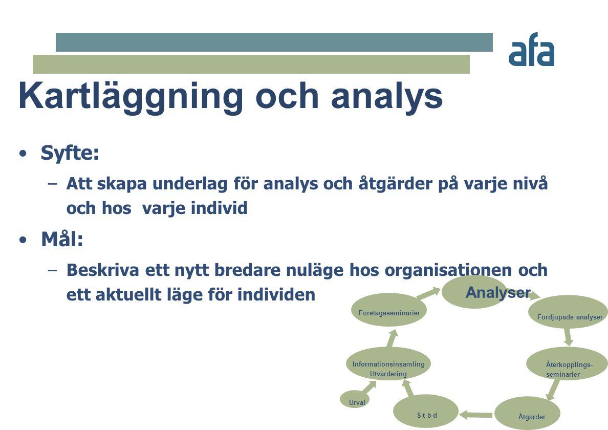 •Syfte: –Att skapa underlag för analys och åtgärder på varje nivå och hos varje individ •Mål: –Beskriva ett nytt bredare nuläge hos organisationen och