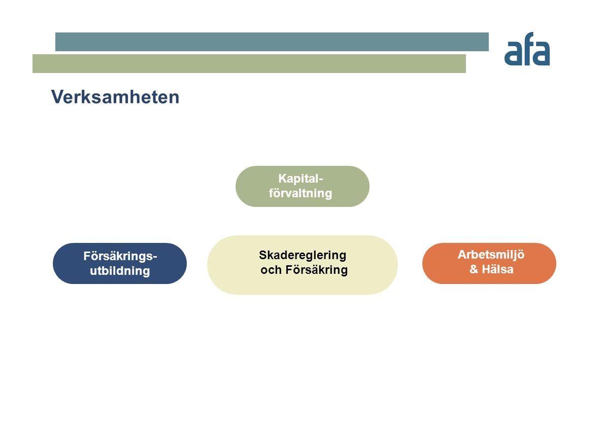 Aktiviteter Arbetsmiljö & Hälsa Två AFA-program för bättre hälsa och arbetsmiljö •Information •Utbildning •Informationsplats/Portal •Systematisk Arbetsmetodik för Arbetsmiljö och Hälsa •Branschprojekt •FoU-projekt •Kunskaps- o erfarenhetsinsamling •Screening av våra register •Kommun- landstingsindex •Rehabilitering •Utvärdering •Organisation/Genomförande