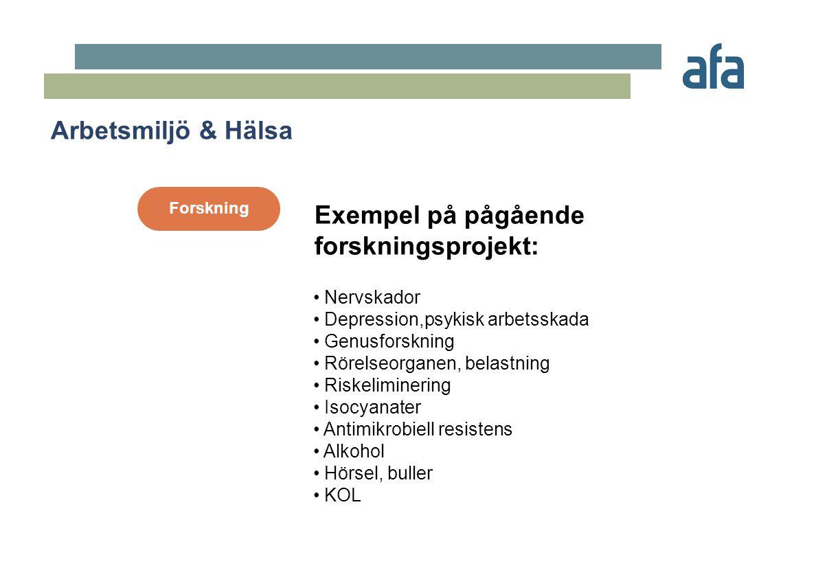 Prevention • Pappers/massa - informationssystem • Blodsmitta - e-learning • Stål och metall - informationssystem • Livsmedel - maskinkonstruktion • Bygg - fallkampanj • Såg/trä - riskanalysutbildning • Väktare-utbildning • Skog - riskanalysutbildning • Verkstad - riskanalys och information Exempel på pågående preventionsprojekt: Arbetsmiljö & Hälsa