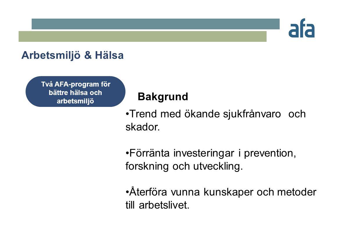 •Trend med ökande sjukfrånvaro och skador. •Förränta investeringar i prevention, forskning och utveckling. •Återföra vunna kunskaper och metoder till