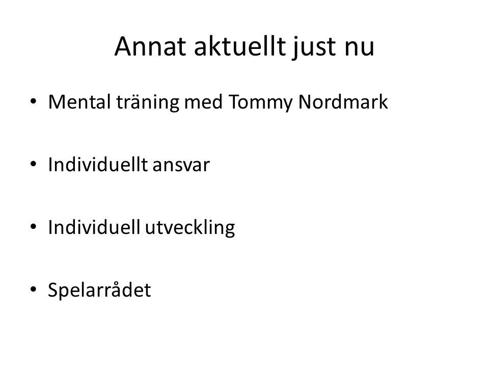 Annat aktuellt just nu • Mental träning med Tommy Nordmark • Individuellt ansvar • Individuell utveckling • Spelarrådet