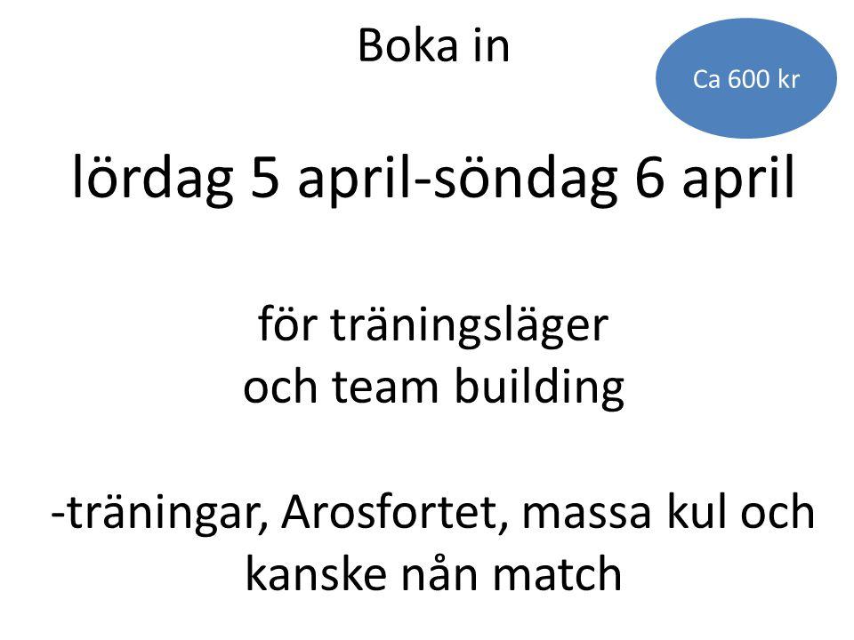 Boka in lördag 5 april-söndag 6 april för träningsläger och team building -träningar, Arosfortet, massa kul och kanske nån match Ca 600 kr