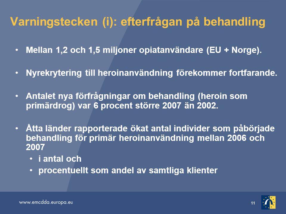 11 Varningstecken (i): efterfrågan på behandling •Mellan 1,2 och 1,5 miljoner opiatanvändare (EU + Norge). •Nyrekrytering till heroinanvändning föreko