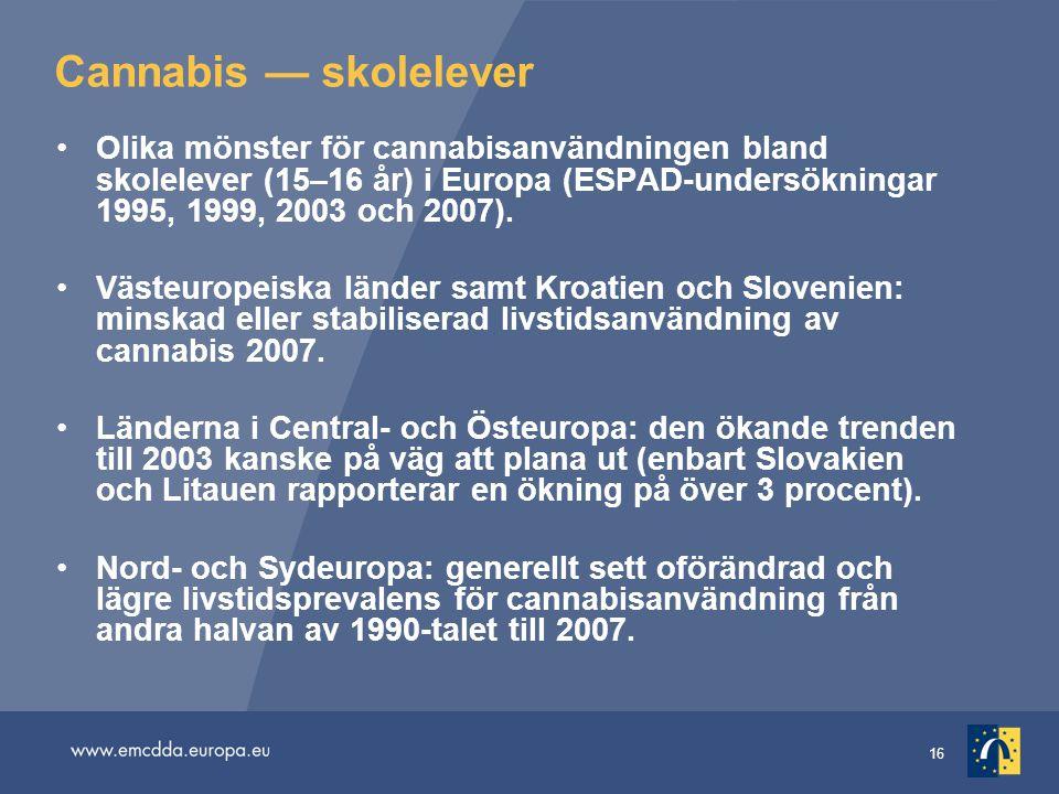16 Cannabis — skolelever •Olika mönster för cannabisanvändningen bland skolelever (15–16 år) i Europa (ESPAD-undersökningar 1995, 1999, 2003 och 2007)