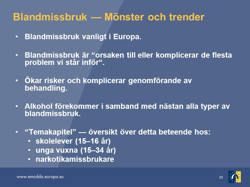"""21 Blandmissbruk — Mönster och trender •Blandmissbruk vanligt i Europa. •Blandmissbruk är """"orsaken till eller komplicerar de flesta problem vi står in"""