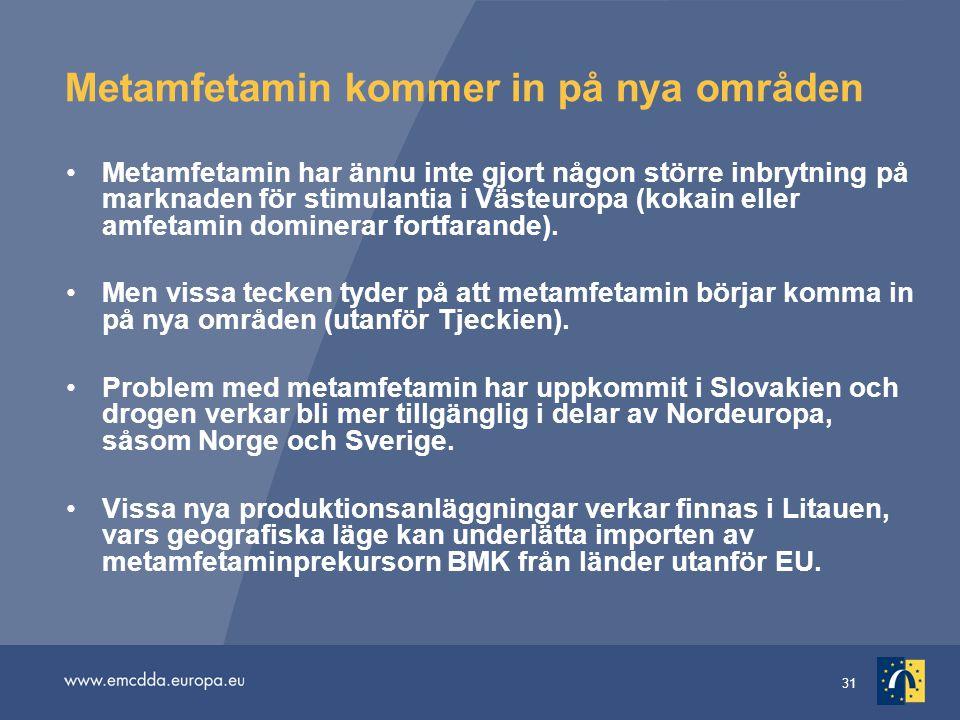 31 Metamfetamin kommer in på nya områden •Metamfetamin har ännu inte gjort någon större inbrytning på marknaden för stimulantia i Västeuropa (kokain e
