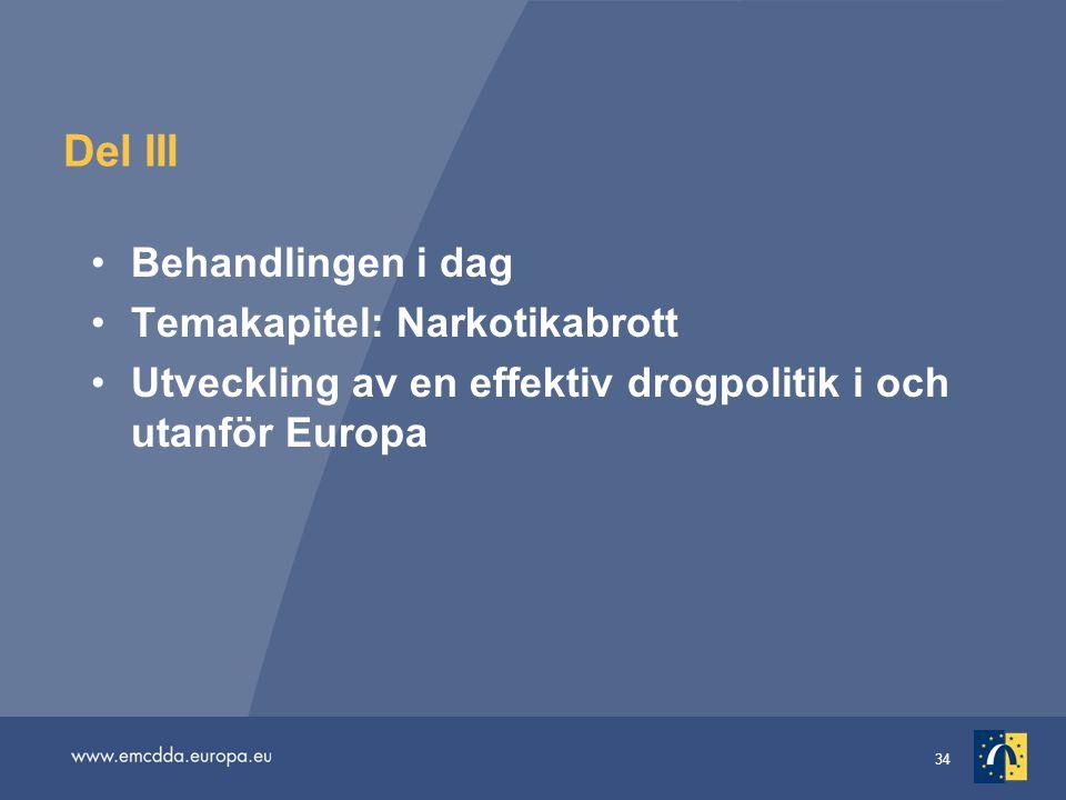 34 Del III •Behandlingen i dag •Temakapitel: Narkotikabrott •Utveckling av en effektiv drogpolitik i och utanför Europa