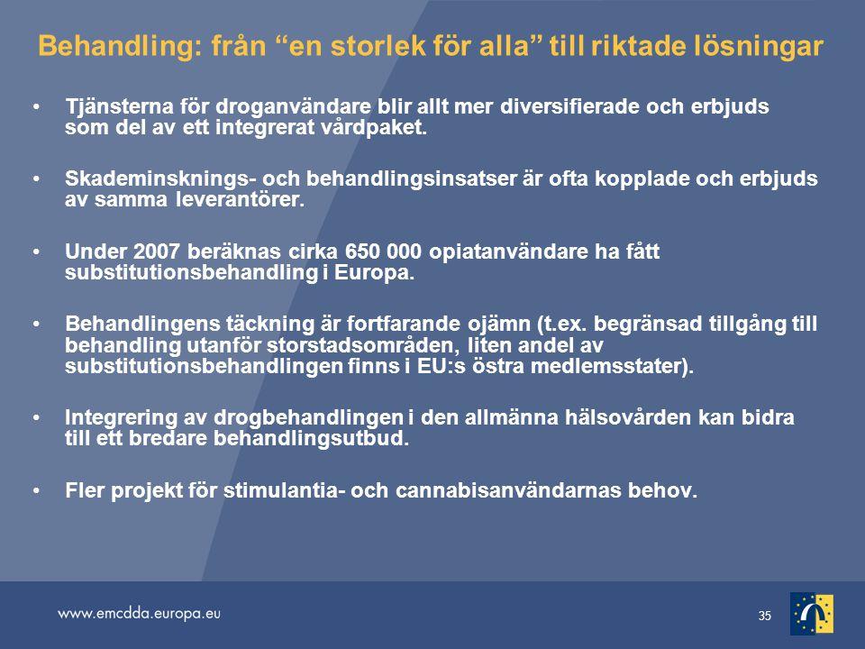 """35 Behandling: från """"en storlek för alla"""" till riktade lösningar •Tjänsterna för droganvändare blir allt mer diversifierade och erbjuds som del av ett"""