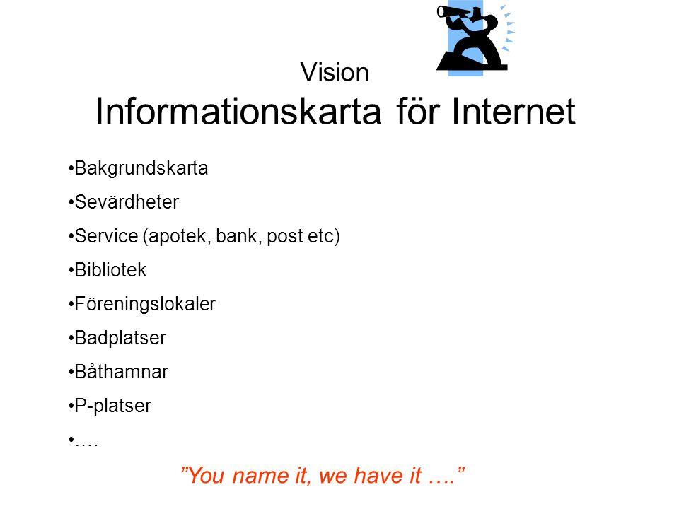 Vision Informationskarta för Internet •Bakgrundskarta •Sevärdheter •Service (apotek, bank, post etc) •Bibliotek •Föreningslokaler •Badplatser •Båthamn