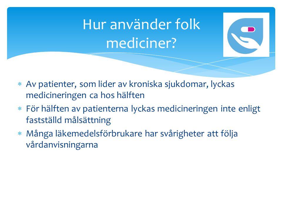  Av patienter, som lider av kroniska sjukdomar, lyckas medicineringen ca hos hälften  För hälften av patienterna lyckas medicineringen inte enligt fastställd målsättning  Många läkemedelsförbrukare har svårigheter att följa vårdanvisningarna Hur använder folk mediciner