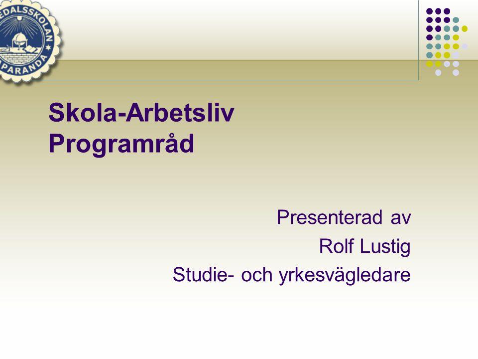 Skola-Arbetsliv Programråd Presenterad av Rolf Lustig Studie- och yrkesvägledare