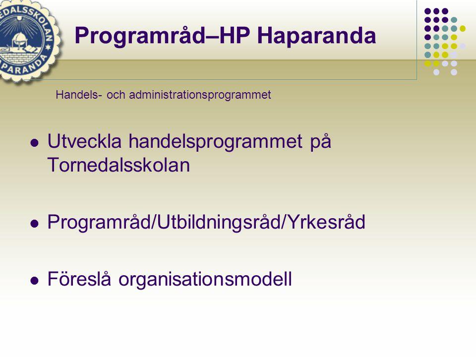 Programråd–HP Haparanda  Utveckla handelsprogrammet på Tornedalsskolan  Programråd/Utbildningsråd/Yrkesråd  Föreslå organisationsmodell Handels- och administrationsprogrammet