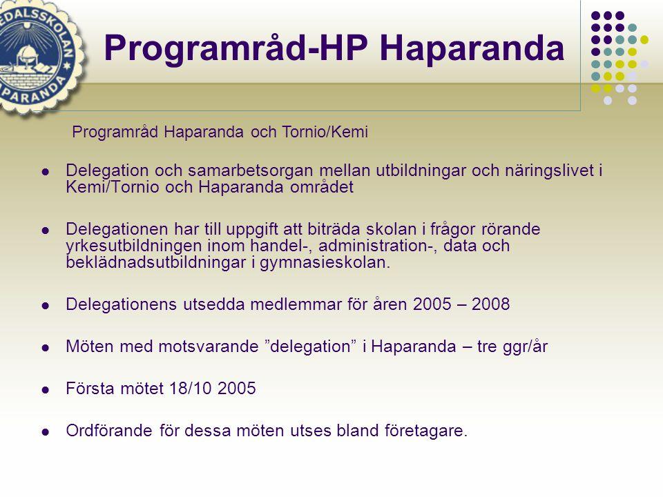 Programråd-HP Haparanda  Delegation och samarbetsorgan mellan utbildningar och näringslivet i Kemi/Tornio och Haparanda området  Delegationen har till uppgift att biträda skolan i frågor rörande yrkesutbildningen inom handel-, administration-, data och beklädnadsutbildningar i gymnasieskolan.