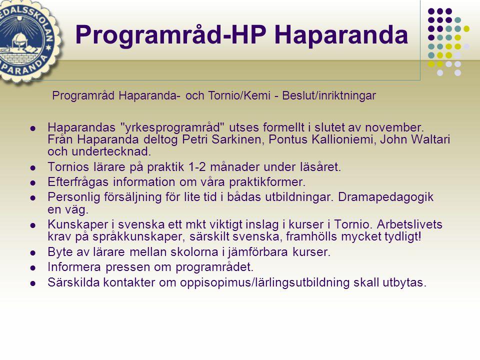 Haparandas yrkesprogramråd utses formellt i slutet av november.