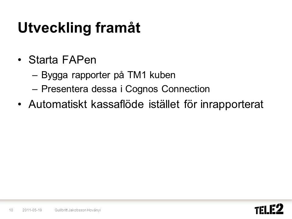 2011-05-1910Gullbritt Jakobsson Hoványi Utveckling framåt •Starta FAPen –Bygga rapporter på TM1 kuben –Presentera dessa i Cognos Connection •Automatis