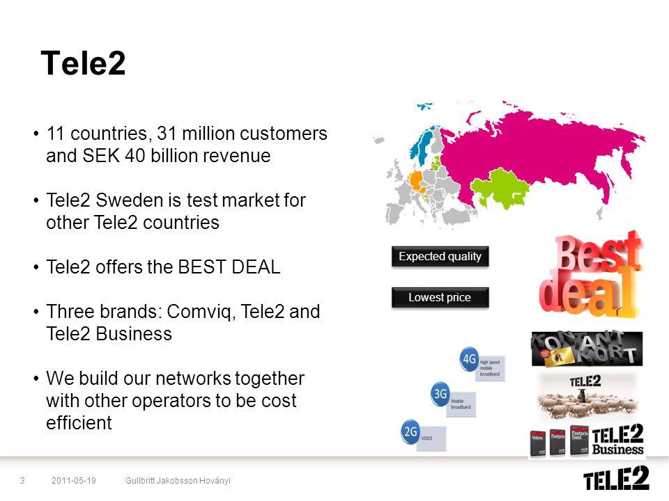 2011-05-193Gullbritt Jakobsson Hoványi Tele2 •11 countries, 31 million customers and SEK 40 billion revenue •Tele2 Sweden is test market for other Tel