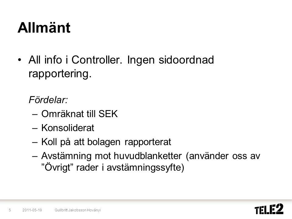 2011-05-195Gullbritt Jakobsson Hoványi Allmänt •All info i Controller. Ingen sidoordnad rapportering. Fördelar: –Omräknat till SEK –Konsoliderat –Koll