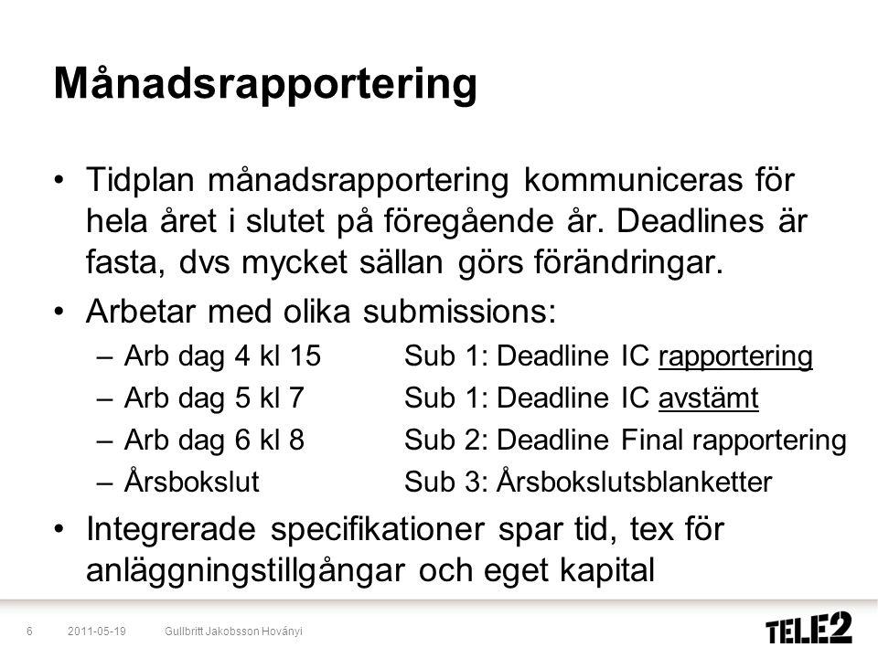 2011-05-196Gullbritt Jakobsson Hoványi Månadsrapportering •Tidplan månadsrapportering kommuniceras för hela året i slutet på föregående år. Deadlines