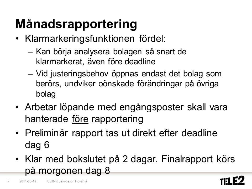 2011-05-197Gullbritt Jakobsson Hoványi Månadsrapportering •Klarmarkeringsfunktionen fördel: –Kan börja analysera bolagen så snart de klarmarkerat, äve