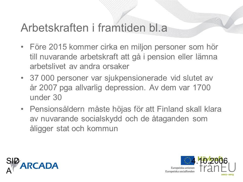 4.10.2006SID A 2 Arbetskraften i framtiden bl.a •Före 2015 kommer cirka en miljon personer som hör till nuvarande arbetskraft att gå i pension eller lämna arbetslivet av andra orsaker •37 000 personer var sjukpensionerade vid slutet av år 2007 pga allvarlig depression.