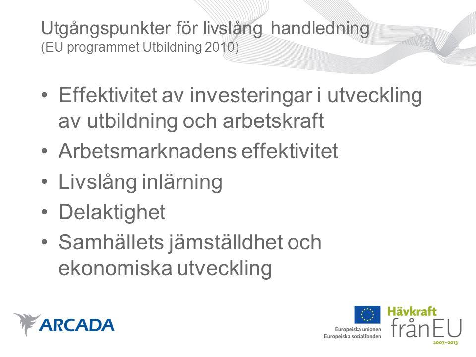 Utgångspunkter för livslång handledning (EU programmet Utbildning 2010) •Effektivitet av investeringar i utveckling av utbildning och arbetskraft •Arbetsmarknadens effektivitet •Livslång inlärning •Delaktighet •Samhällets jämställdhet och ekonomiska utveckling