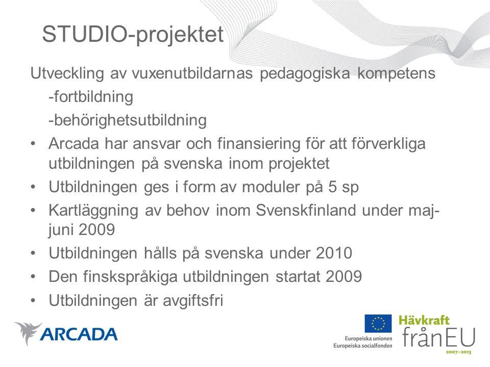 STUDIO-projektet Utveckling av vuxenutbildarnas pedagogiska kompetens -fortbildning -behörighetsutbildning •Arcada har ansvar och finansiering för att förverkliga utbildningen på svenska inom projektet •Utbildningen ges i form av moduler på 5 sp •Kartläggning av behov inom Svenskfinland under maj- juni 2009 •Utbildningen hålls på svenska under 2010 •Den finskspråkiga utbildningen startat 2009 •Utbildningen är avgiftsfri