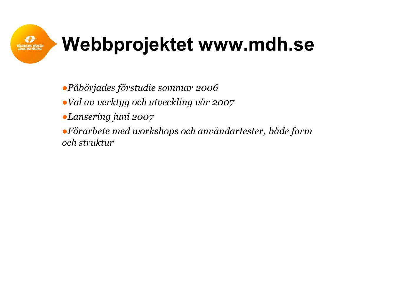 Webbprojektet www.mdh.se ●Påbörjades förstudie sommar 2006 ●Val av verktyg och utveckling vår 2007 ●Lansering juni 2007 ●Förarbete med workshops och a
