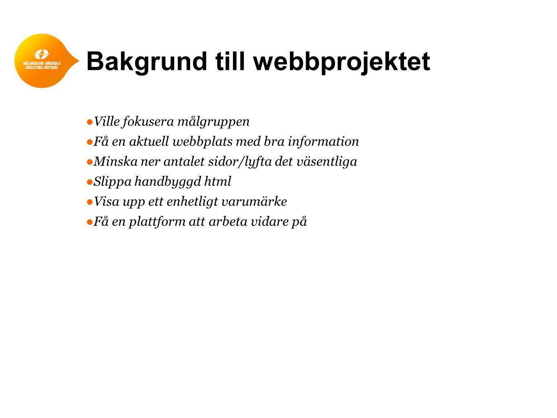 Bakgrund till webbprojektet ●Ville fokusera målgruppen ●Få en aktuell webbplats med bra information ●Minska ner antalet sidor/lyfta det väsentliga ●Sl