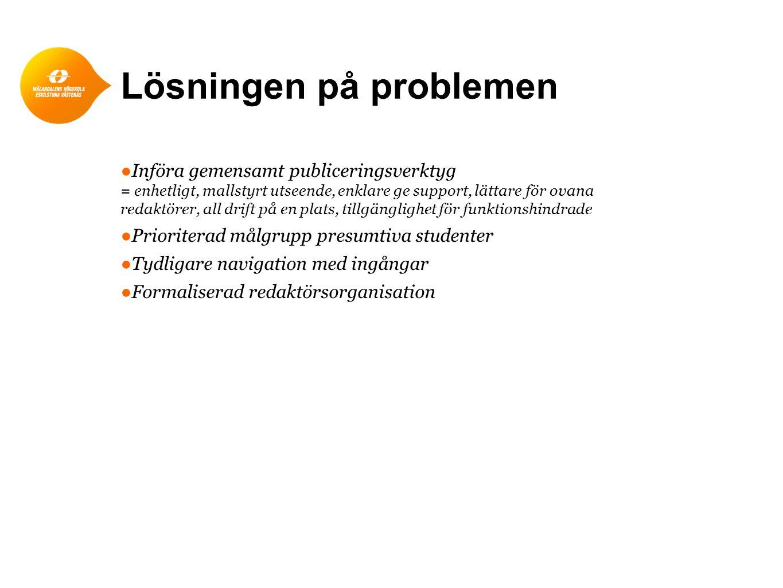 Lösningen på problemen ●Införa gemensamt publiceringsverktyg = enhetligt, mallstyrt utseende, enklare ge support, lättare för ovana redaktörer, all dr