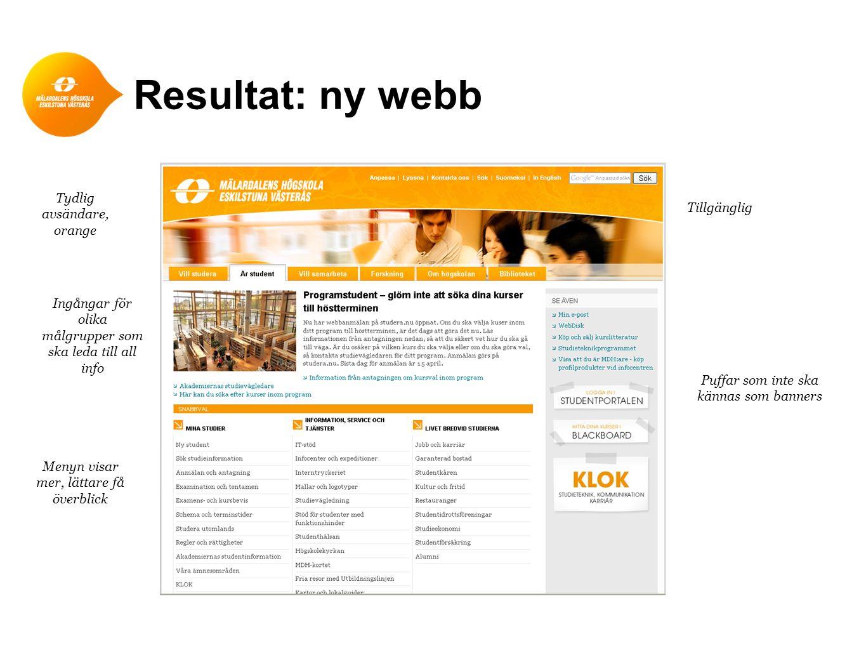 Resultat: ny webb Tydlig avsändare, orange Ingångar för olika målgrupper som ska leda till all info Menyn visar mer, lättare få överblick Tillgänglig