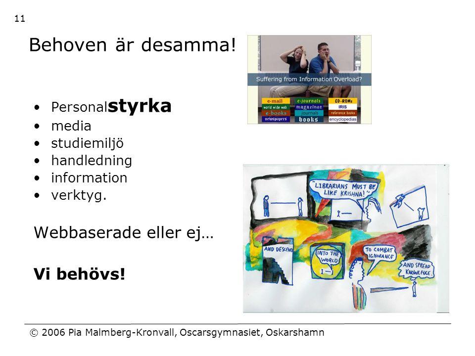 © 2006 Pia Malmberg-Kronvall, Oscarsgymnasiet, Oskarshamn 11 Behoven är desamma! •Personal styrka •media •studiemiljö •handledning •information •verkt