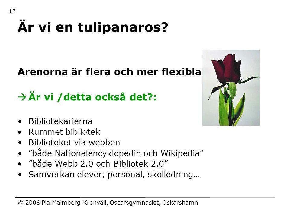 © 2006 Pia Malmberg-Kronvall, Oscarsgymnasiet, Oskarshamn 12 Är vi en tulipanaros? Arenorna är flera och mer flexibla  Är vi /detta också det?: •Bibl