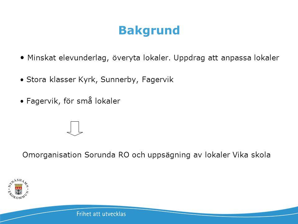 Bakgrund • Minskat elevunderlag, överyta lokaler. Uppdrag att anpassa lokaler • Stora klasser Kyrk, Sunnerby, Fagervik • Fagervik, för små lokaler Omo