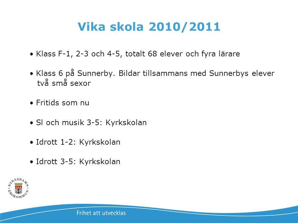 Vika skola 2010/2011 • Klass F-1, 2-3 och 4-5, totalt 68 elever och fyra lärare • Klass 6 på Sunnerby. Bildar tillsammans med Sunnerbys elever två små
