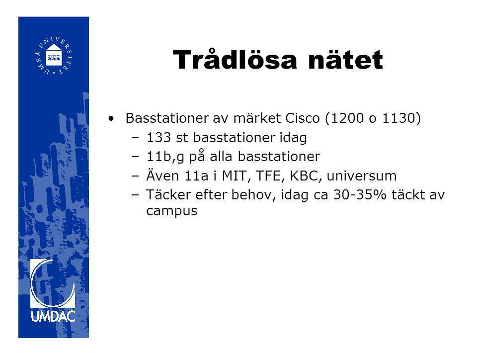 Trådlösa nätet •Basstationer av märket Cisco (1200 o 1130) –133 st basstationer idag –11b,g på alla basstationer –Även 11a i MIT, TFE, KBC, universum –Täcker efter behov, idag ca 30-35% täckt av campus