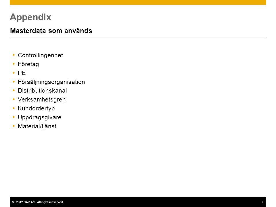 ©2012 SAP AG. All rights reserved.6 Appendix Masterdata som används  Controllingenhet  Företag  PE  Försäljningsorganisation  Distributionskanal
