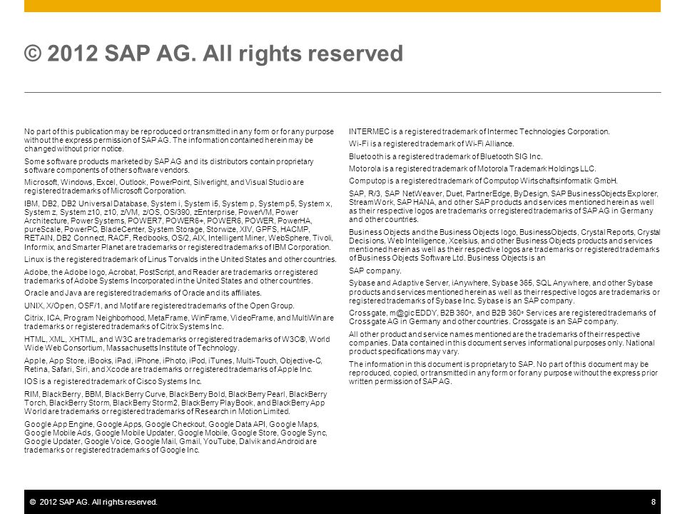 ©2012 SAP AG. All rights reserved.8 No part of this publication may be reproduced or transmitted in any form or for any purpose without the express pe
