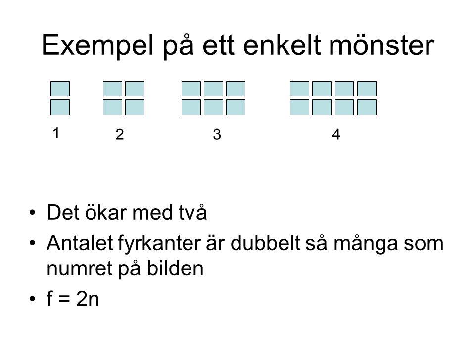 Exempel på ett enkelt mönster •Det ökar med två •Antalet fyrkanter är dubbelt så många som numret på bilden •f = 2n 1 324