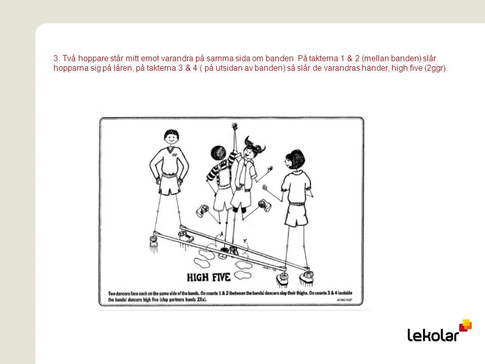 4.Hopparen står mitt emot en av hopphållarna på armlängds avstånd.