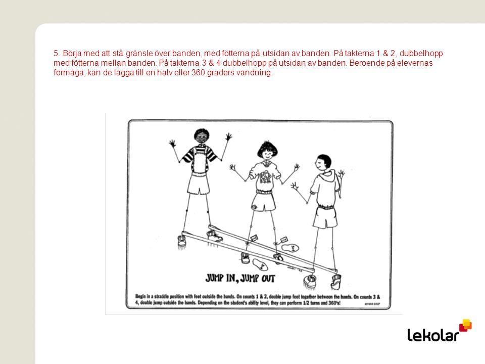 5. Börja med att stå gränsle över banden, med fötterna på utsidan av banden. På takterna 1 & 2, dubbelhopp med fötterna mellan banden. På takterna 3 &