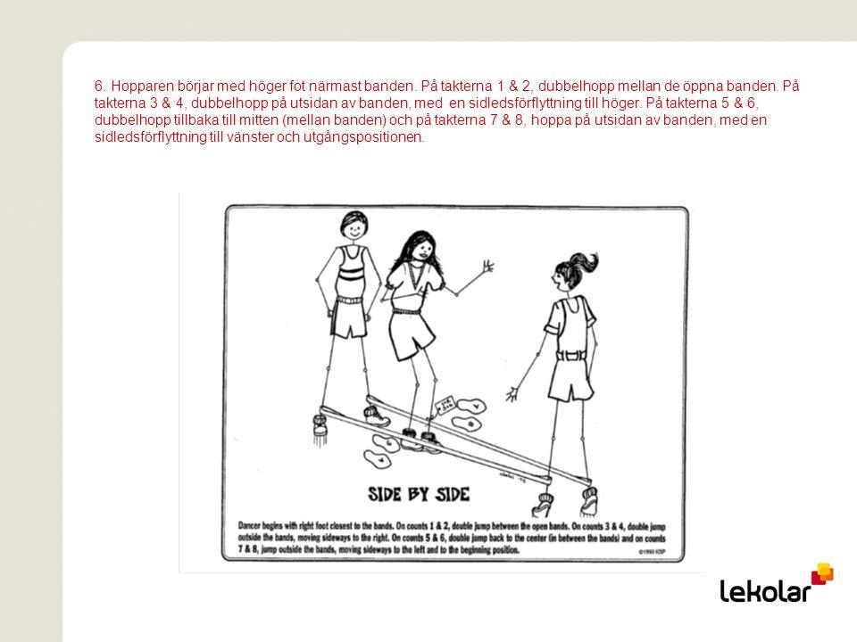 6. Hopparen börjar med höger fot närmast banden. På takterna 1 & 2, dubbelhopp mellan de öppna banden. På takterna 3 & 4, dubbelhopp på utsidan av ban
