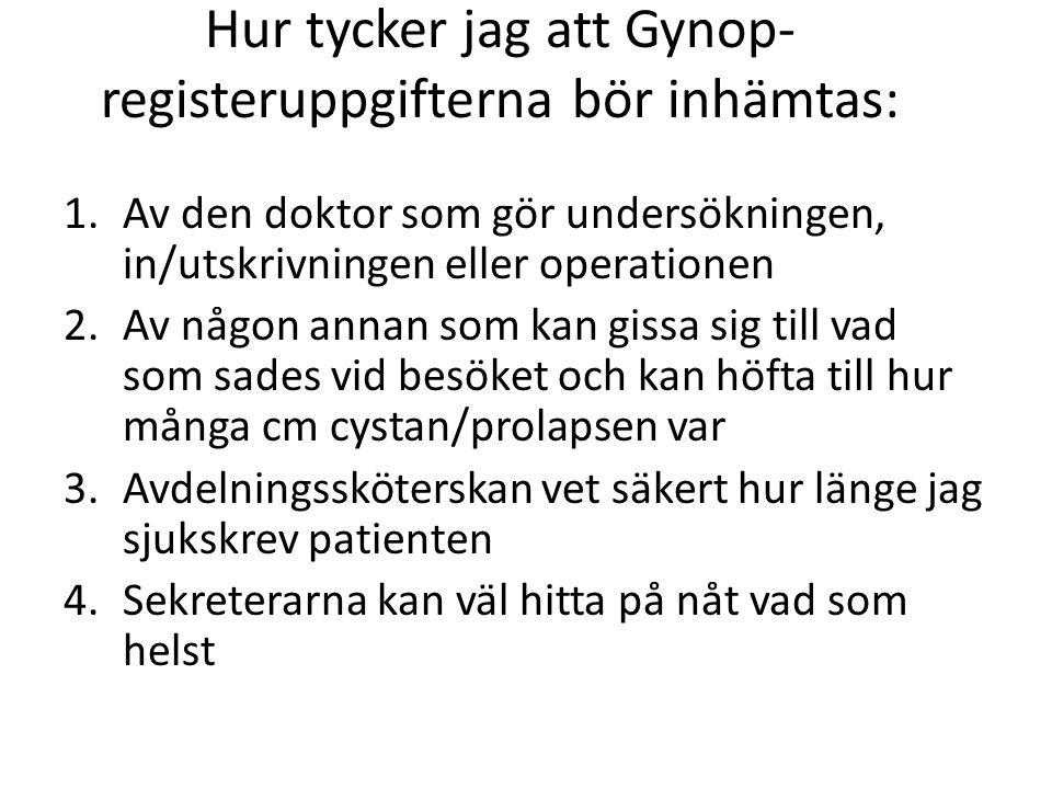 Hur tycker jag att Gynop- registeruppgifterna bör inhämtas: 1.Av den doktor som gör undersökningen, in/utskrivningen eller operationen 2.Av någon anna