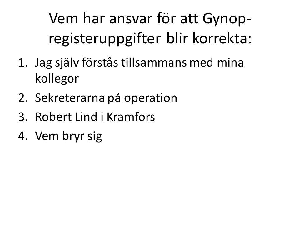 Vem har ansvar för att Gynop- registeruppgifter blir korrekta: 1.Jag själv förstås tillsammans med mina kollegor 2.Sekreterarna på operation 3.Robert