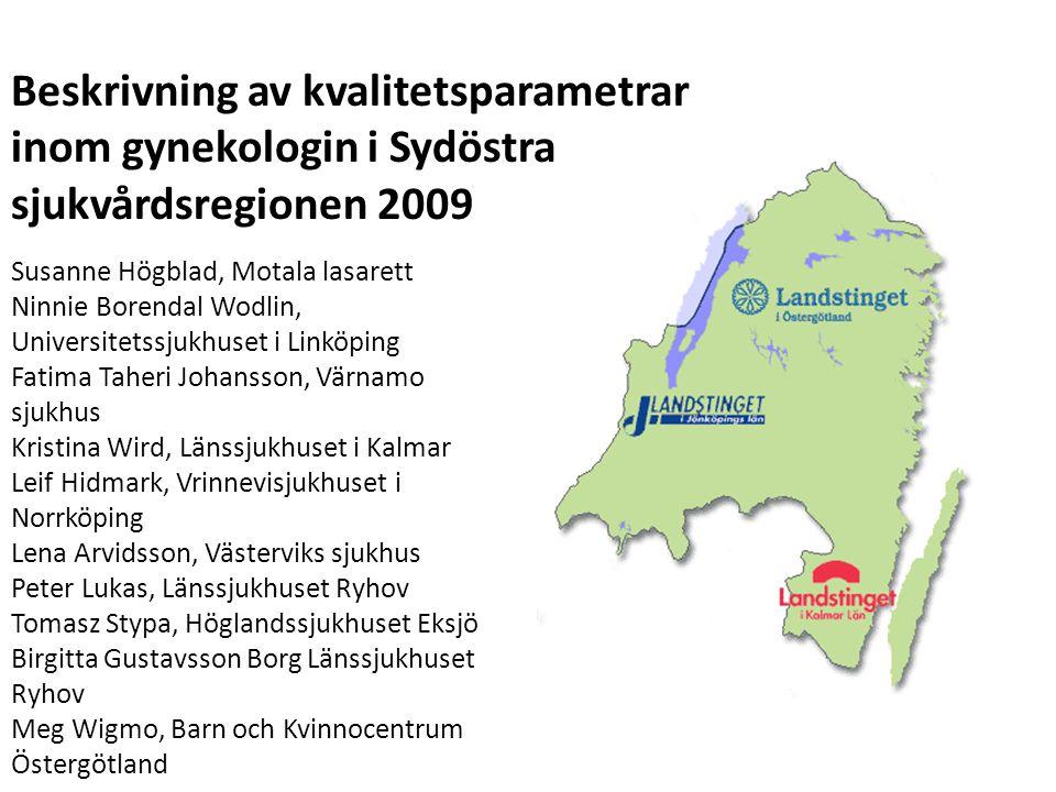 Beskrivning av kvalitetsparametrar inom gynekologin i Sydöstra sjukvårdsregionen 2009 Susanne Högblad, Motala lasarett Ninnie Borendal Wodlin, Univers