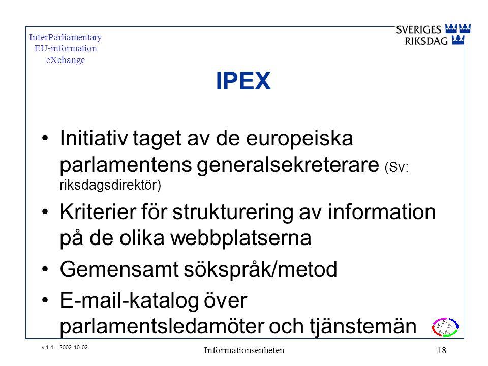 v 1.4 2002-10-02 Informationsenheten18 InterParliamentary EU-information eXchange •Initiativ taget av de europeiska parlamentens generalsekreterare (Sv: riksdagsdirektör) •Kriterier för strukturering av information på de olika webbplatserna •Gemensamt sökspråk/metod •E-mail-katalog över parlamentsledamöter och tjänstemän IPEX