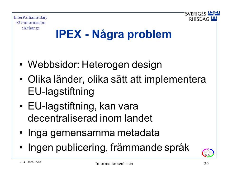 v 1.4 2002-10-02 Informationsenheten20 IPEX - Några problem •Webbsidor: Heterogen design •Olika länder, olika sätt att implementera EU-lagstiftning •EU-lagstiftning, kan vara decentraliserad inom landet •Inga gemensamma metadata •Ingen publicering, främmande språk InterParliamentary EU-information eXchange